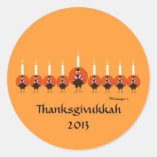 Turkey Menorah Thanksgivukkah Sticker