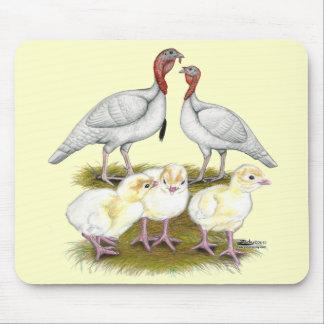 Turkey Mini White Family Mouse Pad