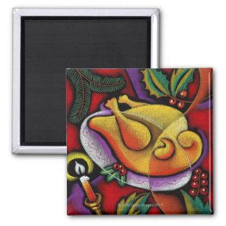 Turkey on platter square magnet