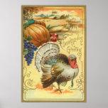Turkey Pumpkin Corn Grapes Apple Haystack Poster