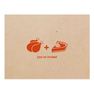 Turkey + Pumpkin Pie Thanksgiving Invitations