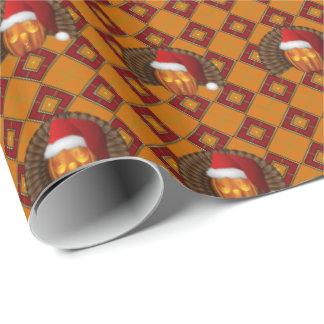 Turkey Pumpkin Santa on Argyle Hallowgivingmas Wrapping Paper