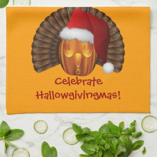 Turkey Pumpkin with a Santa Hat Hallowgivingmas Kitchen Towel