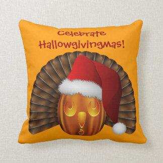 Turkey Pumpkin with a Santa Hat Hallowgivingmas Throw Pillow
