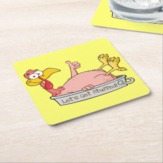 Turkey Ready for Thanksgiving Dinner Cartoon Square Paper Coaster