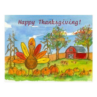 Turkey Red Barn Pumpkin Patch Happy Thanksgiving Postcard