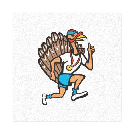 Turkey Run Runner Thumb Up Cartoon Stretched Canvas Print