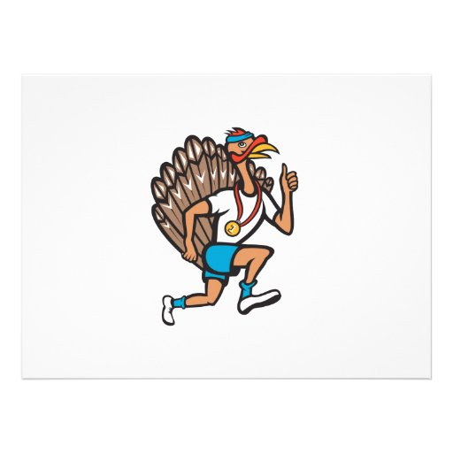 Turkey Run Runner Thumb Up Cartoon Custom Invitations