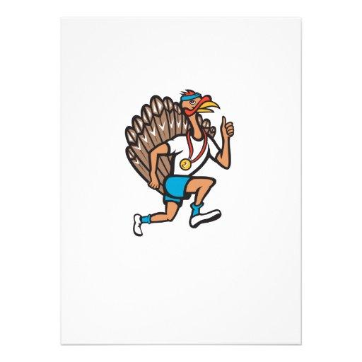 Turkey Run Runner Thumb Up Cartoon Personalised Invitations