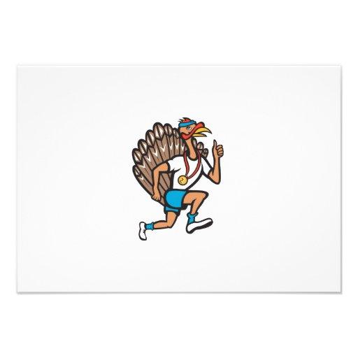 Turkey Run Runner Thumb Up Cartoon Personalized Invites