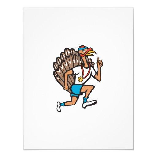 Turkey Run Runner Thumb Up Cartoon Announcement