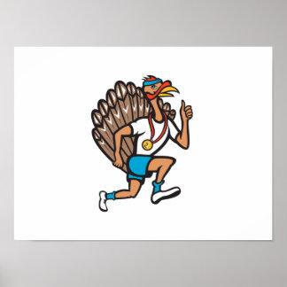Turkey Run Runner Thumb Up Cartoon Posters