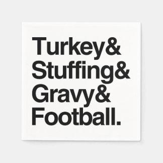 Turkey & Stuffing & Gravy & Football Thanksgiving Disposable Napkins