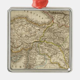 Turkey Syria map Silver-Colored Square Ornament