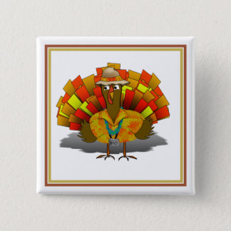Turkey Tourist on Vacation 2 Inch Square Button