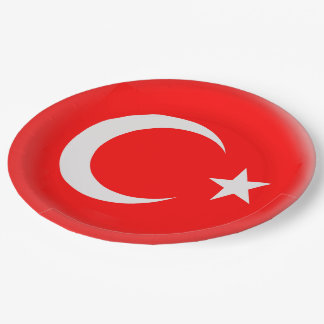 Turkey Turkish Red & White Flag Paper Plate