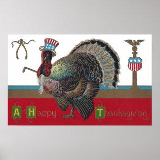 Turkey Wearing Patriotic Hat Vintage Thanksgiving Poster