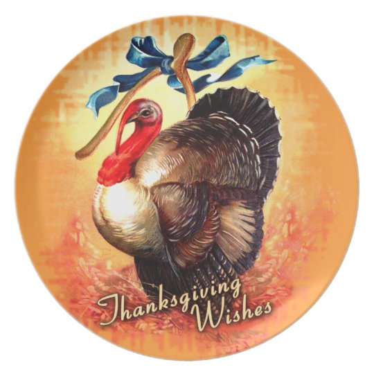 Turkey Wishes Thanksgiving Plate