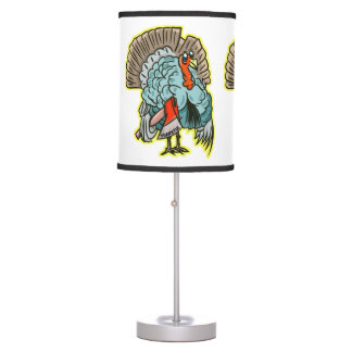 Turkey with an ax funny thanksgiving table lamp