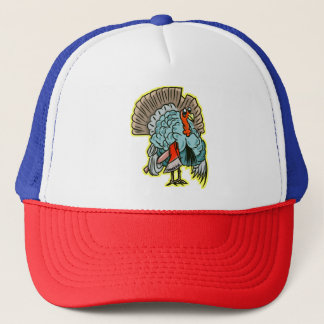 Turkey with an ax funny thanksgiving trucker hat
