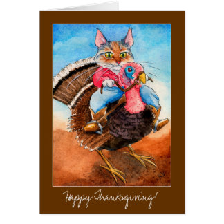 Turkey-wrangler cat Thanksgiving card invitation