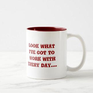TURKEYS AT WORK Two-Tone COFFEE MUG