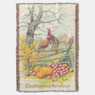 Turkeys Farm Pumpkin Apples Tree Fall Leaves Throw Blanket