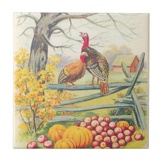 Turkeys Farm Pumpkin Apples Tree Fall Leaves Tiles