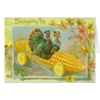 Turkeys In A Corn Car Card