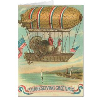Turkeys in Hot Air Balloon with USA Flags Card