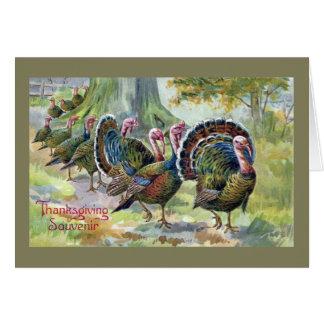 Turkeys On The Move Vintage Thanksgiving Card