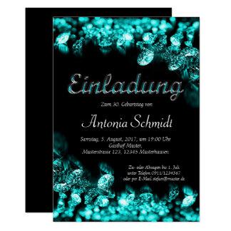 Türkis-Diamant-Geburtstags-Einladungskarte Card