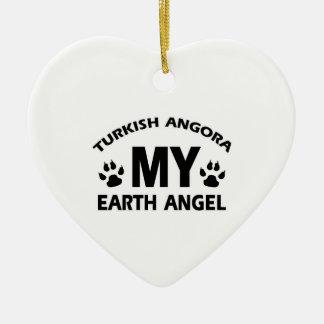 Turkish Angora cat design Ceramic Heart Ornament