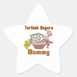 Turkish Angora Cat Mom Star Sticker