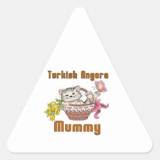 Turkish Angora Cat Mom Triangle Sticker