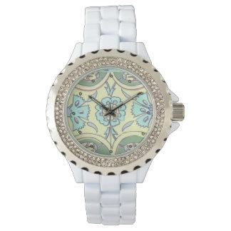 Turkish Aqua and Yellow Ottoman Iznik Tile Pattern Watch