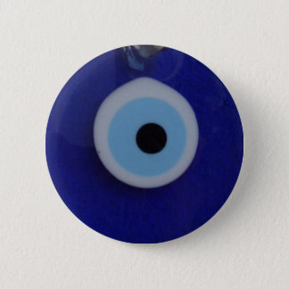 TURKISH BLUE GLASS EVIL EYE AMULET  Button