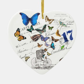 Turkish butterflies, postal old text ceramic heart ornament