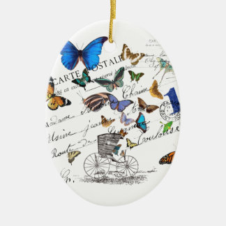 Turkish butterflies, postal old text ceramic oval ornament