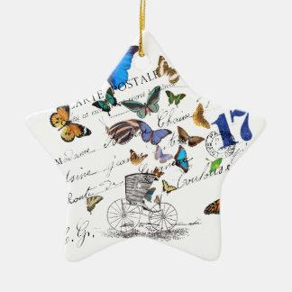 Turkish butterflies, postal old text ceramic star ornament