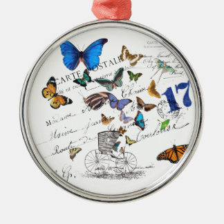 Turkish butterflies, postal old text Silver-Colored round ornament