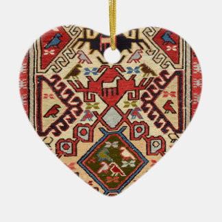 Turkish Carpet #1 Ceramic Heart Ornament