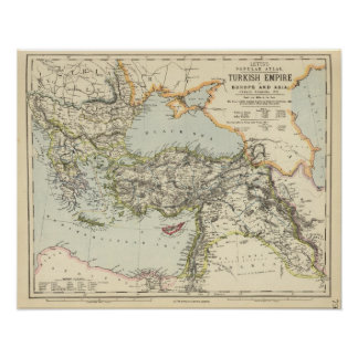 Turkish Empire, Greece, Romania Poster
