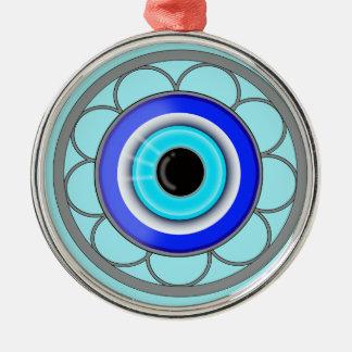Turkish Evil Eye Home Decor Accent - Silver-Colored Round Ornament