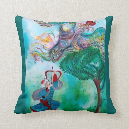 TURKISH FAIRY TALE / PHOENIX AND ARCHER ,Green Throw Pillows