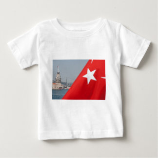 Turkish flag and Maiden tower in Istanbul Baby T-Shirt