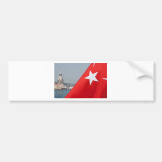 Turkish flag and Maiden tower in Istanbul Bumper Sticker
