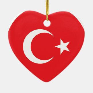 Turkish Flag Circle Ceramic Ornament