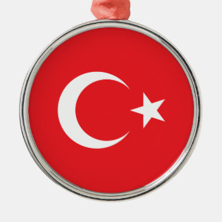 Turkish Flag Circle Silver-Colored Round Ornament