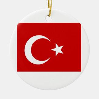 Turkish Flag Round Ceramic Ornament